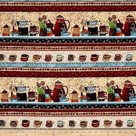 Coffee House 23x44 panel premium cotton fabric by Debi Hron for Henry Glass Co BTY Coffee House 23x44 panel premium cotton fabric