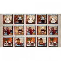 Coffee House 23x44 panel premium cotton fabric