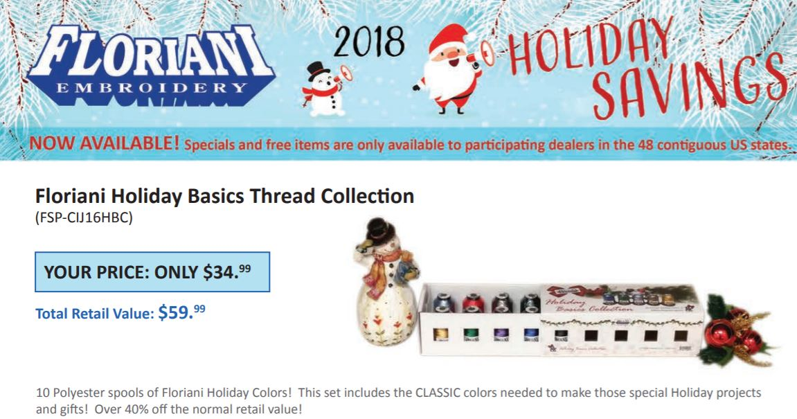 Floriani Holiday Promotions 2018