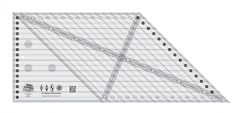 Creative Grids 8in 45 Degree Diamond Dimensions Ruler