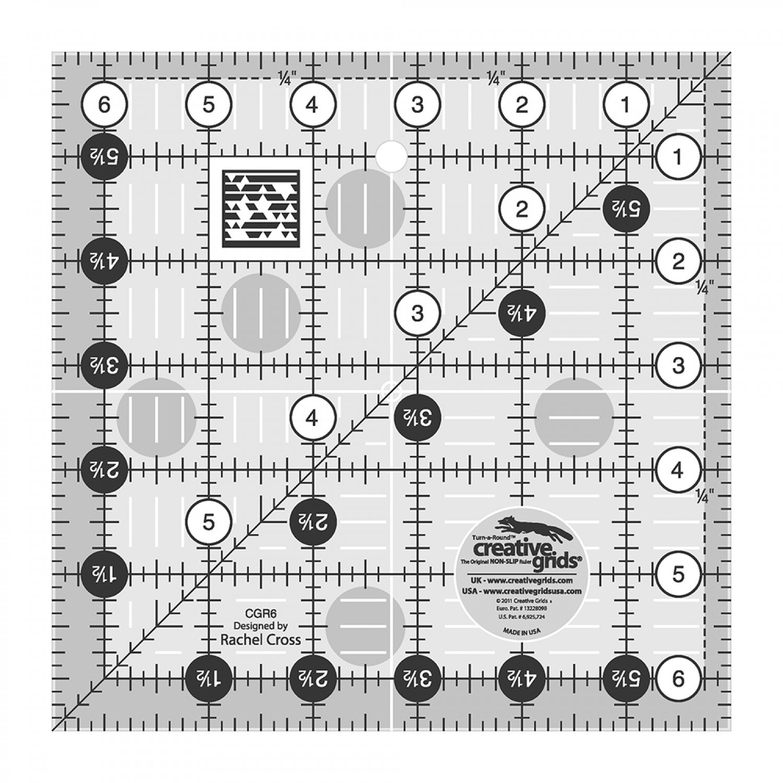 "Creative Grid Non Slip Ruler - 6.5"" x 6.5"""