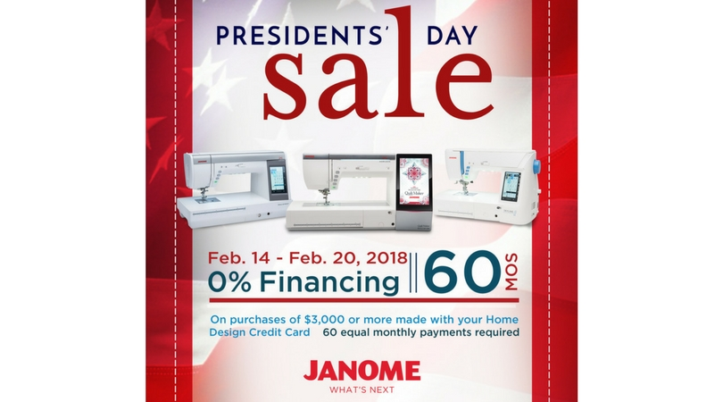Janome Presidents' Day Sale